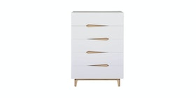 Anya Living Leaf Chest 5Drw Vellum Chest 5Drw Sonoma Oak Light + White