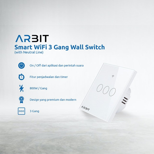 ARBIT ARBIT Wifi Smart Wall Switch / Saklar works with Alexa Google 3 Gang