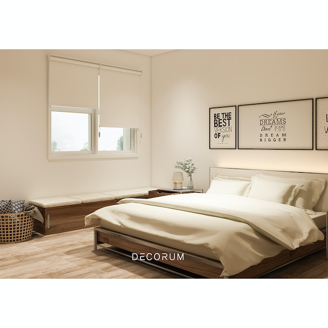 Aria Home Roller Blind Blackout Tirai Gulung  #Gorden Cream T250 x L90