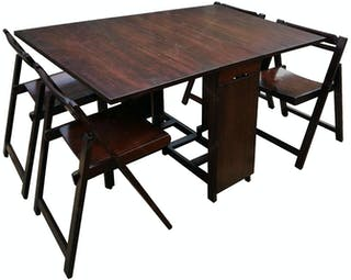 Artista Home Fabio Set Folding Table Cokelat(1 Meja + 4 Kursi)