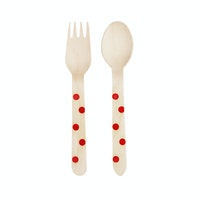 Bakers Polkadot Cutlery Red