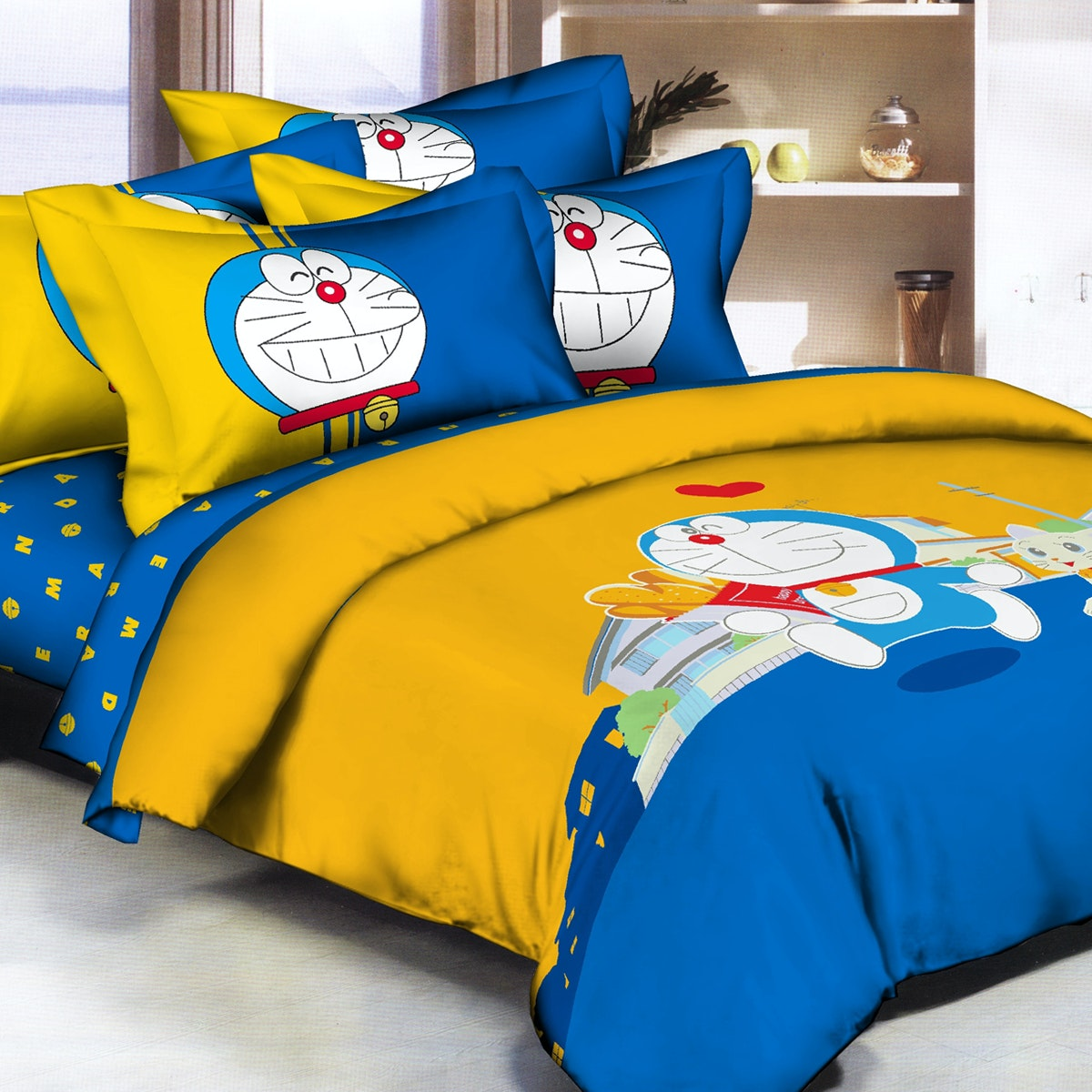 Pantone Doraemon Lovely Bed Cover set single Fitted 100 x 200 x 30