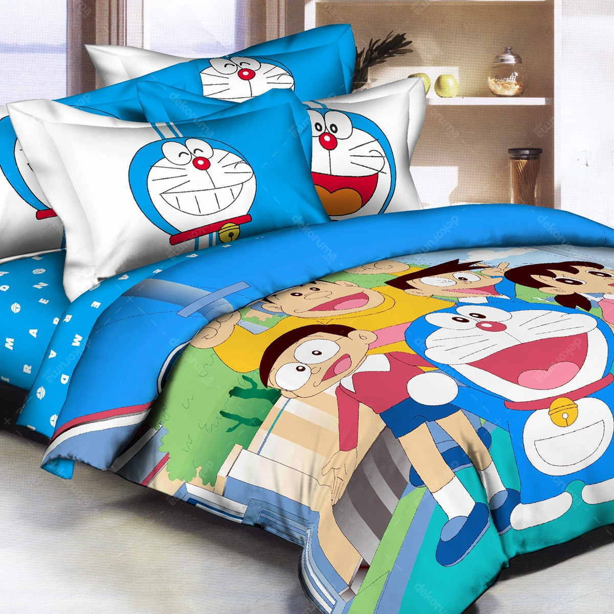Pantone Doraemon Fun Bed Cover set Full Fitted 120 x 200 x 30