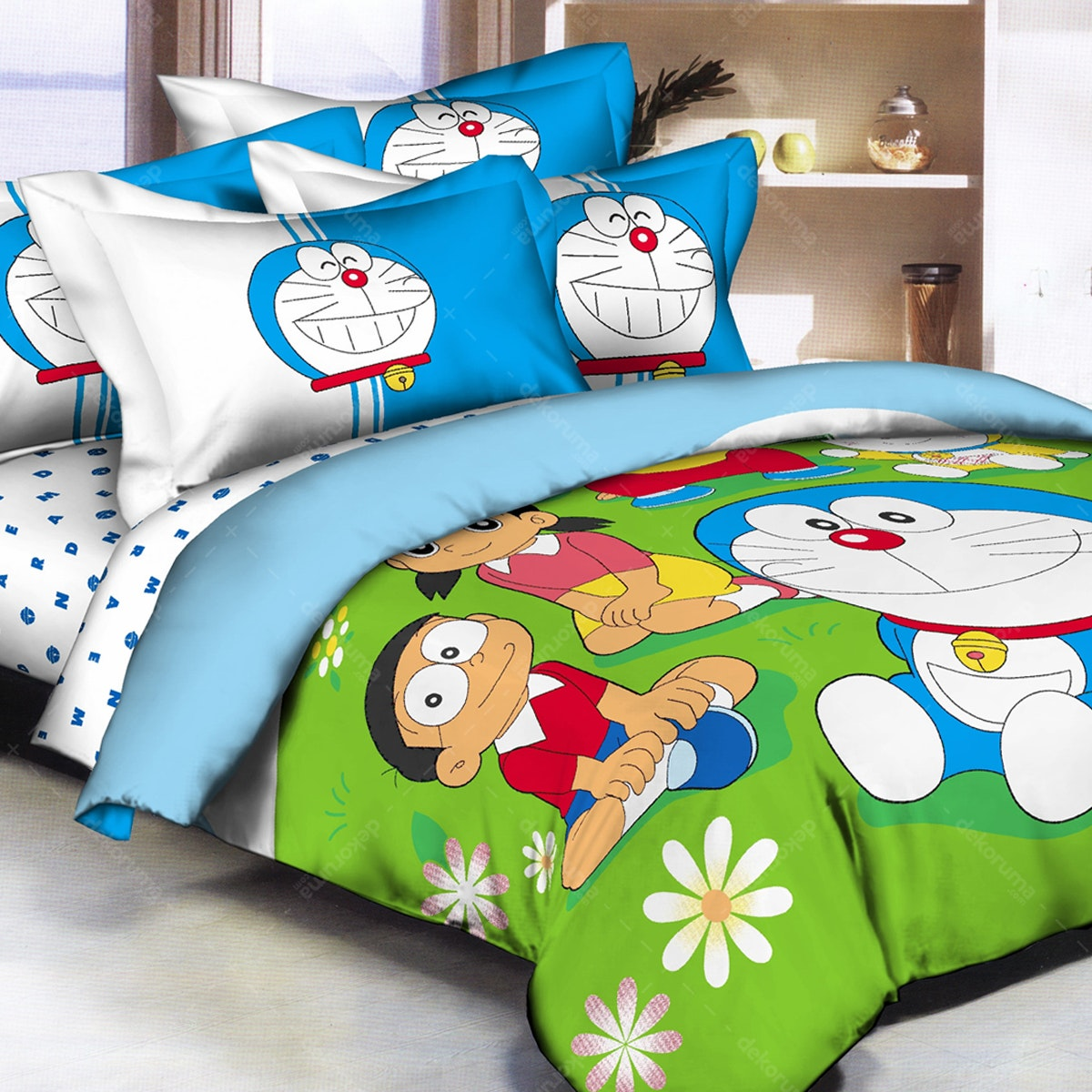 Pantone Doraemon Garden Bed Cover set King Fitted 180 x 200 x 30