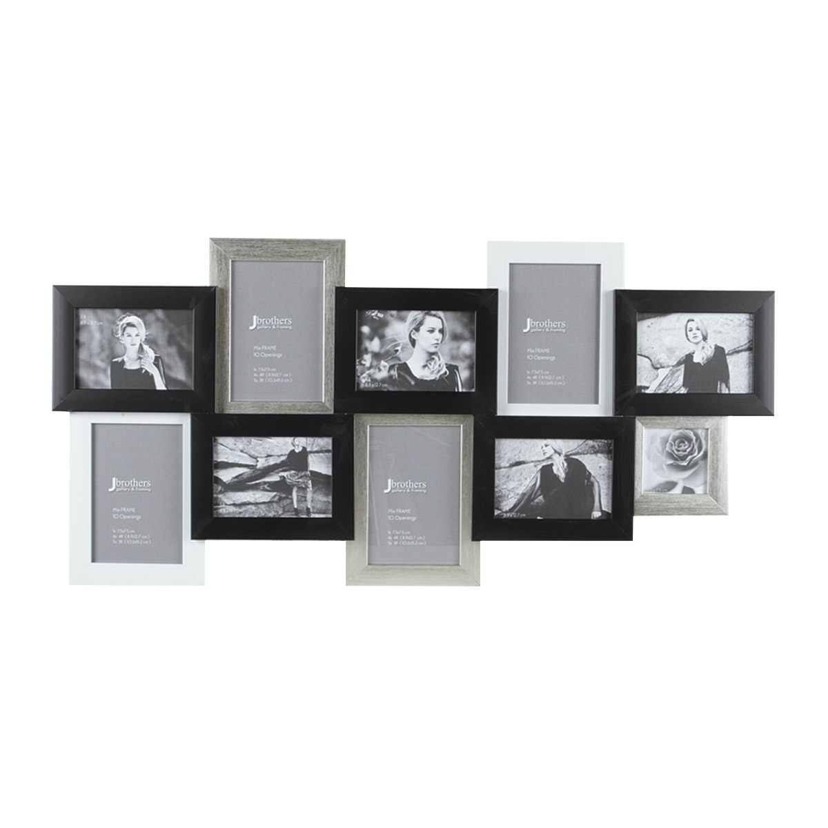 Jbrothers Mix Frame 10 openings Silver Black & White MF12