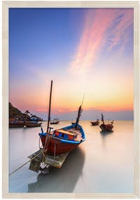 Jbrothers Solid Wood JB 24 Boat With Sunrise 40x45 cm