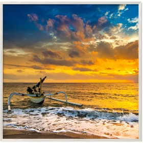 Jbrothers Solid Wood JB 29 Boat with Sunset 40x40 cm