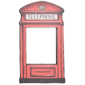 BiruTua Red Telephone Hanging Mirror Cermin