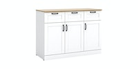 Bavarian Bavarian Bufet Kabinet Dapur 3 Pintu White - Yellow Oak (ASHLEY SB120)