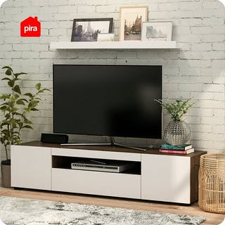 PIRA PIRA - CONDOR TV160 Meja TV / Rak TV Kayu Gelap Brown Walnut - White