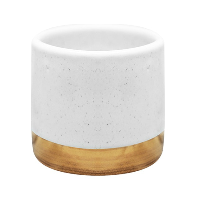 Carra Gold Lining Candle Holder White