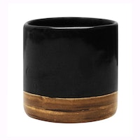 Carra Gold Lining Candle Holder Black