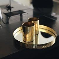 Carra Metallic Gold Circle Tray