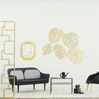 Codeco Wall sticker Monstera Leaves Pastel with Gold