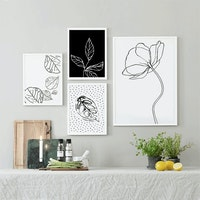 Codeco Poster Set One Line Drawing Leaves
