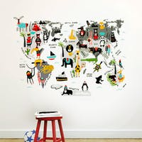 Codeco Wall sticker Kids Map Scandi Animals