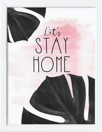 Codeco Poster Black Pink Monstera Lets Stay Home