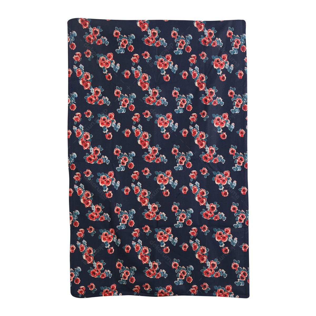 Chic For Home Flower Navy Canvas Rugs