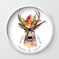 Clouds Clou Wall Clock Floral Deer 20x20cm