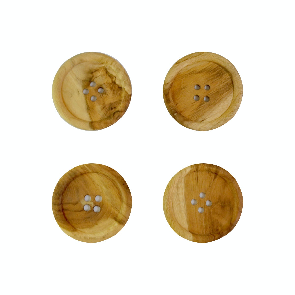 COCOBOLO 4pcs The button wood coasters teak wood