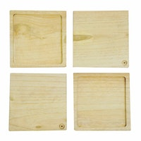 COCOBOLO 4pcs Square in square wood coasters