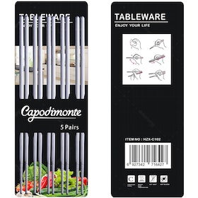 Capodimonte 10 Pcs Stainless Steel Chopsticks / Sumpit Korea 23 CM