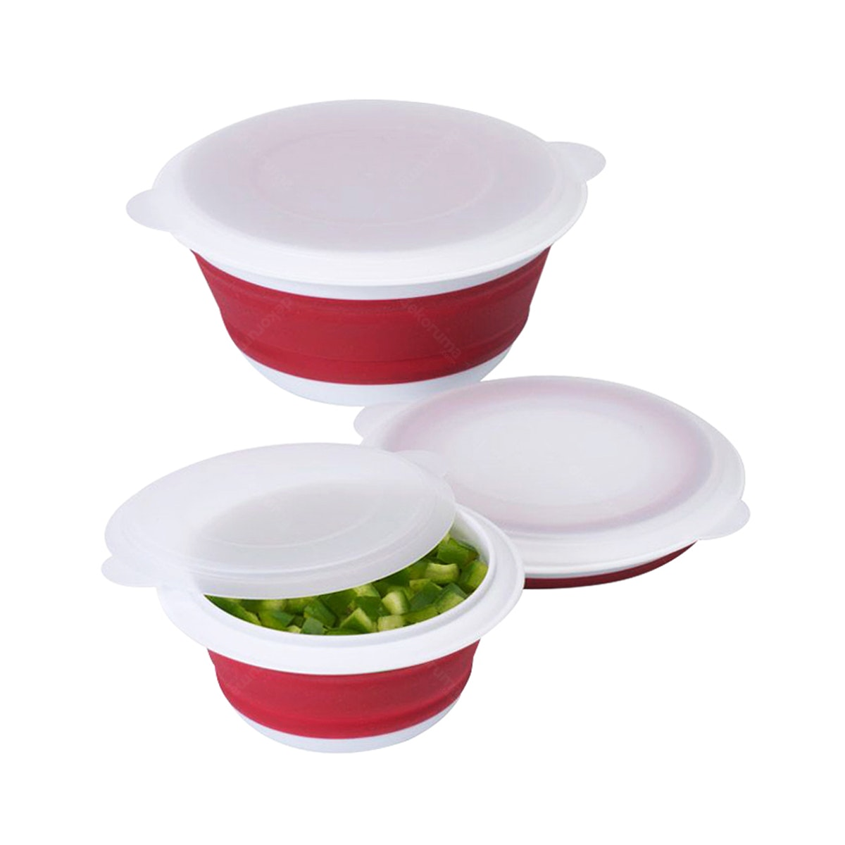 Cooks Habit Progressive Set Of 3 Collapsible Bowl Red