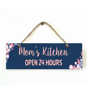 Custom Wallsticker Hanging Wood Pajangan Kayu Dapur Mom's Kitchen Open 24 Hours