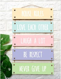Custom Wallsticker Hanging Wood - Walldecor Pajangan Kayu Susun - House Rules