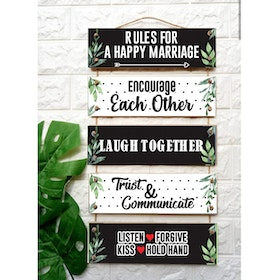 Custom Wallsticker Hanging Wood - Walldecor Pajangan Kayu Susun - Marriage