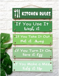 Custom Wallsticker Hanging Wood - Walldecor Pajangan Kayu Susun - Kitchen Rules
