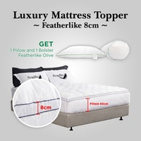 Cozylila Luxury Mattress Topper Set 1 Pillow 1 Bolster Featherlike DoubleList 8cm 120 x 200