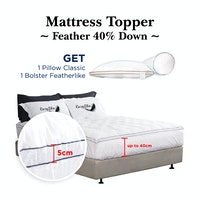Cozylila Mattress Topper Feather 40persen down 1 Pillow Classic 1 Bolster Featherlike 120 x 200