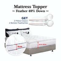 Cozylila Mattress Topper 40persen Set 2 Pillow Classic 2 Bolster Featherlike 180 x 200