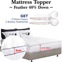 Cozylila Mattress Topper 40persen Down Set 2 Pillow Classic 2 Bolster Featherlike 200 x 200