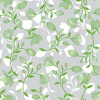 Interior DIY Stiker Kaca Film Green White Leaves - HPG 31848 Glass Sheet