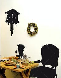 Interior DIY Wallsticker Dinding Classic Clock and Chair - PL 58133
