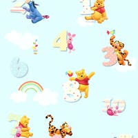Interior DIY Wallpaper Sticker Dinding DG 11916 Pooh Numbers Blue Meteran