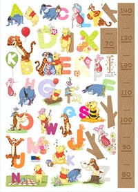 Interior DIY Wallsticker Dinding DS 56190 Pooh Alphabets