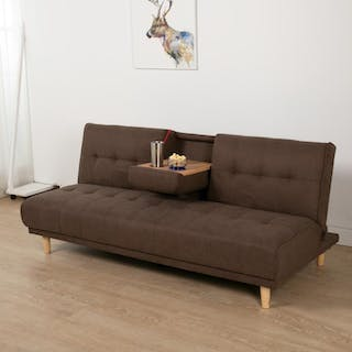 ebonia Sofa Bed Maxim Fabric - Cokelat Muda
