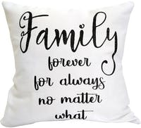 "EL's Gallery Sarung Bantal Kanvas ""Family Forever for Always No Matter What"" Putih 40x40cm"