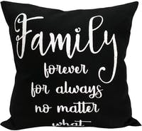 "EL's Gallery Sarung Bantal Kanvas ""Family Forever for Always No Matter What"" Hitam 40x40cm"