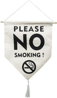 "EL's Gallery Hanging Sign ""Sign Please No Smoking"" Putih BW 27x33"