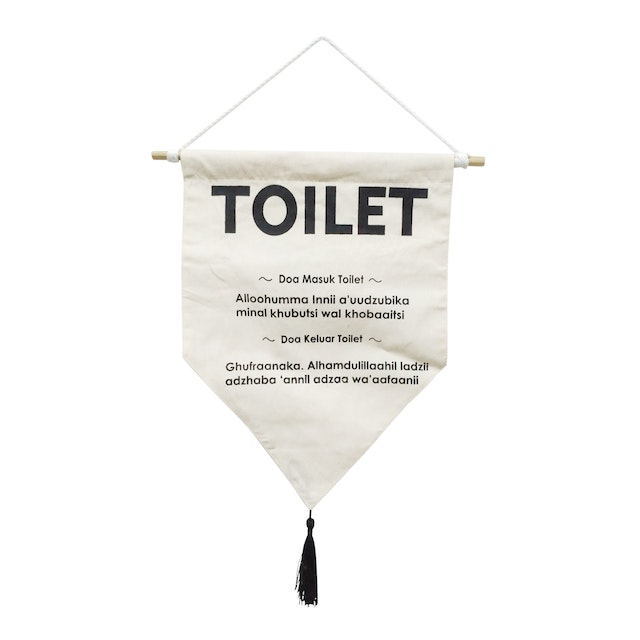 "EL's Gallery Hanging Sign ""TOILET"" Putih BW 27x33"