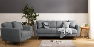 Ezma Stefan Sofa Set Dark Grey