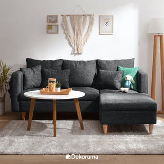 Ezma Hansen Sofa Set with Round Coffee Table Hitam