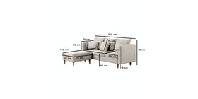 Ezma Hansen Sofa L Cream