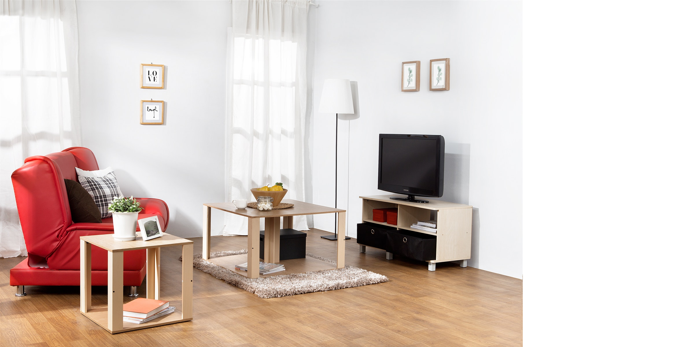 Funika Set Ruang Keluarga Seri Modern (Coffee Table + Meja TV + Side Table)