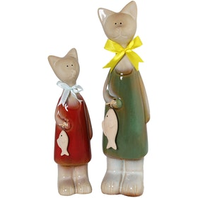Festiva furniture Ceramic Cat With Fish Set Of Two 8069 4 Yw5
