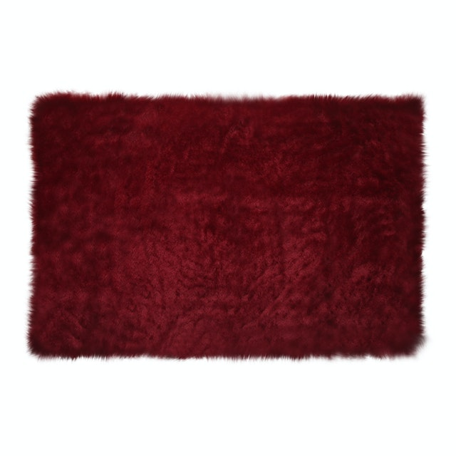 Glerry Home Decor Square Maroon Fur Rug 100x150cm